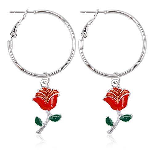 Eenvoudige mode roos bloem cirkel oorbellen groen blad rode bloem oorbellen zilver 53mm