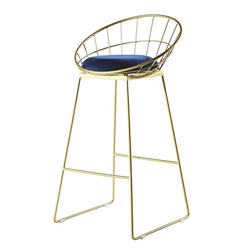 YLCJ Modern barkruk Nordic kinderstoel Kruk Eetstoel in stof Velvet Kussen Stoel Bar kruk Iron stoel gesmeed, met goud metalen basis Max. 200 kg. Seat Height:65cm Blauw