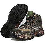 TH&Meoostny Botas tácticas de los Hombres Botas para Caminatas Antideslizantes al Aire Libre. Botas de Caza Impermeable Zapatos de montaña Transpirables Black -001-1 44
