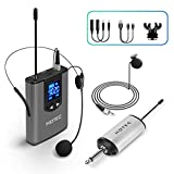 Hotec UHF Wireless Headset Microphone/Lavalier Lapel Mic with Bodypack Transmitter and Mini Rechargeable Receiver 1/4' Output, for Live Performances, Support Phone