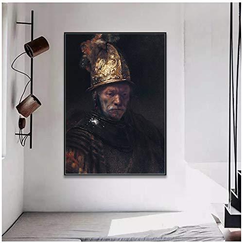 sjkkad Rembrandt Harmenszoon Van Rijn Der Mann met de gouden helm, canvasdruk schilderij poster wandschilderij voor hal wooncultuur -50x70cm No Frame