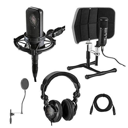 Audio-Technica AT4040 Side-Address Cardioid Condenser Microphone, 20 Hz - Bundle with Desktop Isolation Filter (Gray), Studio Monitor Headphones, 15' XLR M to XLR F Mic Cable, Pop Blocker