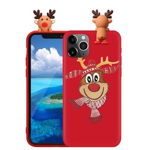Yoedge Funda para Xiaomi Mi 6X/Mi A2 5,99 Pulgadas, Cárcasa Silicona Rojo con Navidad 3D Dibujos Diseño Suave Gel TPU Funda Antigolpes Protectora Bumper Christmas Case, Alce 1