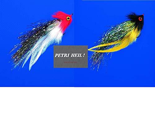 Set: 2 Stück Jenzi Raubfisch-Streamer mit Auge ca. 17cm, 6/0 Haken + gratis Petri Heil! Aufkleber