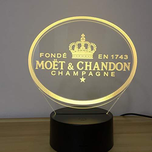 Zhuhuimin et Yue Champagne (Moet Et Chandon) 3D LED nachtlampje geschenk voor klanten vrienden baby nachtlampje USB of op batterijen werkende bureaudecoratie licht