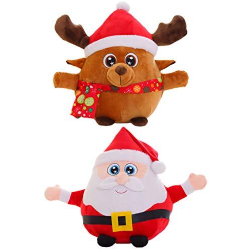 ABOOFAN Elettrico di Natale Babbo Natale Renna Bambola di Canto Di Natale Giocattolo 2Pcs Mini Luminoso di Santa Peluche Bambola di Pezza Animale Figurine per Natale Festa di Nozze