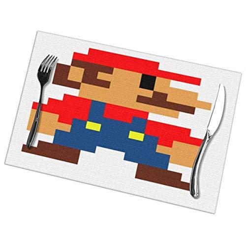N/A Super Pixel Personen Placemats voor Eettafel Set van 6 Stuk Wasbaar Polyester 12x18 in Geweven Vinyl Placemats Hittebestendig voor Keuken Eettafel Decoraties Matten