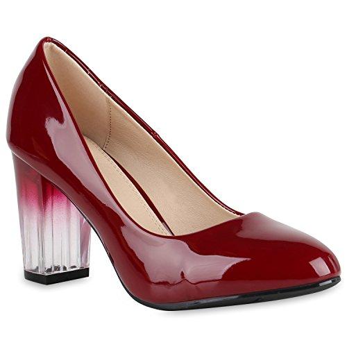 Klassische Damen Schuhe Pumps Transparente Blockabsatz High Heels Lack 150690 Dunkelrot Berkley 38 Flandell