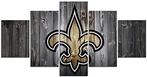 SILUYU-Leinwanddrucke,New Orleans Saints NFL Team Logo Wandkunst Moderne Kunst Gemälde 5 Stück Leinwand Home Decor Wandbild Home Artwork American Football Prints Poster,Mit Rahmen,Größe S:100 * 50Cm