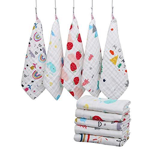 Katigan 10 Estilos de PaaOs para Eructos de BebéS,De Gasa de AlgodóN de 6 Capas PaaUelo Bufanda Toallitas de, Toalla de Lactancia Reutilizable y FáCil de Lavar para NiiAs PequeeAs