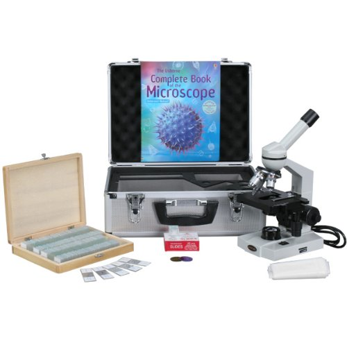 AmScope M600B-TK100 40X-2000X Advanced Monocular Compound Microscope with 3D-Stage + Book, Slides & Carrying Case