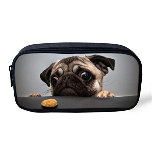 FOR U DESIGNS Grey Cute Pug Print Simple Durable Pen Bag Pencil Case for Girls