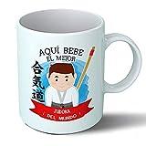Planetacase Taza Desayuno Aquí Bebe el Mejor Judoka del Mundo Regalo Judo Original Ceramica 330 mL