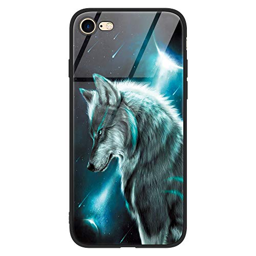 Eouine Apple iPhone 6 Plus / 6s Plus Case, [Anti-Scratch] Shockproof Patterned Tempered Glass Back Cover Case with Soft Silicone Bumper for Apple iPhone 6 Plus / 6s Plus Smartphone (Wolf 2)
