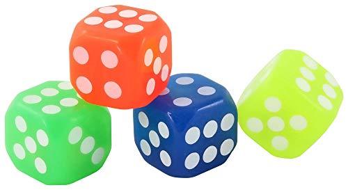 com-four 4-teiliges Set bestehend aus Vier Leuchtwürfel // Farben: blau, grün, gelb, orange (Farbauswahl kann variieren)