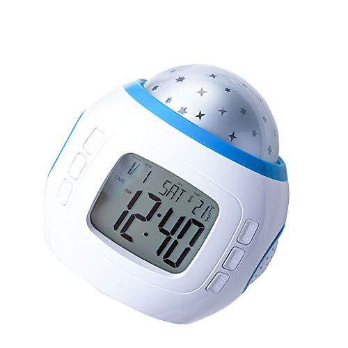 kerryshop Reloj Despertador Multi-función Starry Sky Projection Alarm Clock Mute Snooze Función Delay Wake-up Alarm Clock Disfrute de Color Atmósfera Luces Reloj de Escritorio