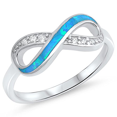 Clear CZ Blue Simulated Opal Infinity Knot Ring .925 Sterling Silver Band