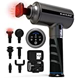 Heated Massage Gun with 6 Massage Heads and 5 Powerful Speeds & 3 Auto Modes, Hot Compress Deep Tissue Percussion Muscle Massager with Portable Case for Gym Office Home Post-Workout Pain Relief