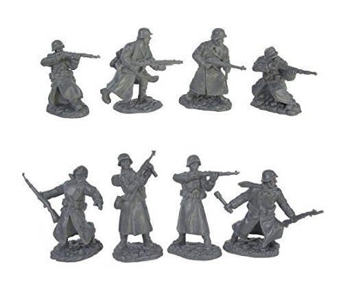 WWII Longcoat German Infantry Plastic Army Men: 16 piece set of 54mm Figures - 1:32 scale by Toy Soldiers of San Diego