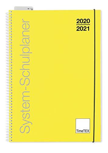 TimeTex System-Schulplaner mit Ringbindung - A4 Gelb - Schuljahr 2020-2021 - Lehrerkalender - Lehrertimer - 10450