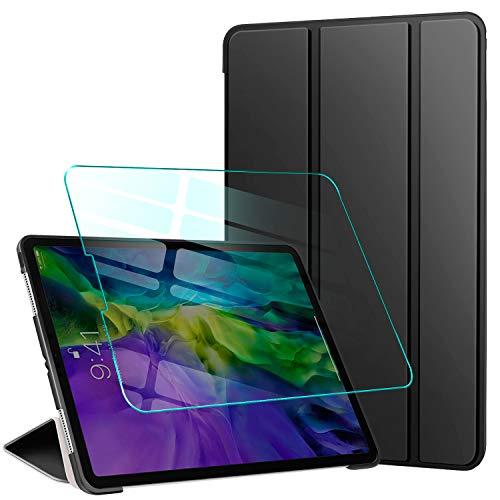 AROYI Hülle für iPad Pro 12.9 2020 Hülle + Panzerglas, Ultra Schlank PU Leder Schutzhülle mit Rückseite Silikon Cover und Standfunktion für iPad Pro 12.9 Zoll 2020 (4. Generation), Schwarz