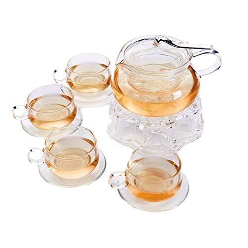 Tetera LITING_Wang Juego de té de Cristal Resistente al Calor Juego Completo de Juego de té de Hierbas Flores de Oficina Juego de té Cristal
