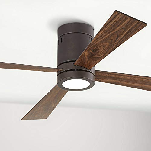 """52"""" Revue Modern Hugger Low Profile Ceiling Fan with Light LED Remote Control Flush Mount Oil Rubbed Bronze for Living Room Kitchen - Casa Vieja"""