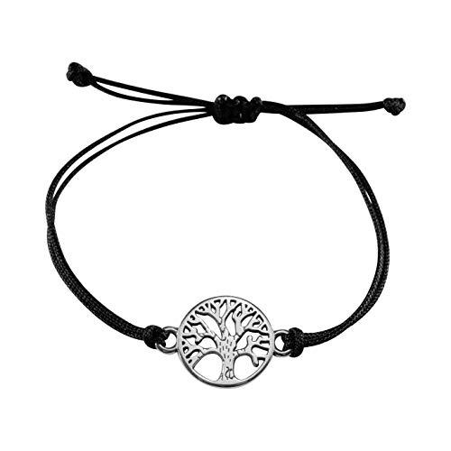 Nuoli® Lebensbaum Armband Damen Silber (verstellbar bis 20cm) Baum des Lebens Armbändchen für Frauen & Mädchen, aus schwarzem Stoff mit Metall Anhänger