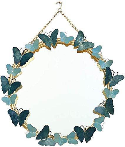 LHQ-HQ La Entrada Colgar de la Pared del Fondo del Hierro labrado Decorativo Espejo Creativo de la Sala decoración de la Pared Dormitorio Vestir Mesa Redonda de Maquillaje Espejo (Color: Azul)