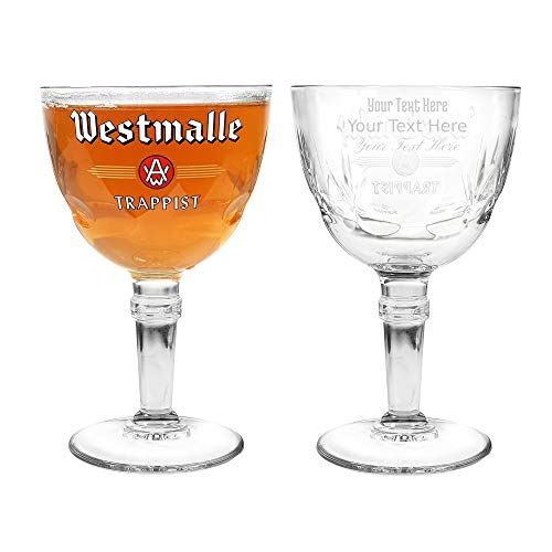 Bicchiere da birra belga Westmalle con incisione nucleata, personalizzabile