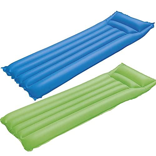 Pack de 2 colchonetas hinchables 183 x 69 cm, colchoneta Inflable Verano, Hamaca Flotante, colchón, Tumbona Inflable, Flotador con reposacabezas para Playa y Piscinas (Azul y Verde)