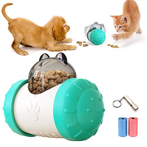TVMALL Perros Juguetes Pelota Alimentador de Comida Mascota Juguetes interactivos Dispensador de Comida Perro Gato Comida Lenta Columpio Pelota Rompecabezas Divertido Juguete de forrajeo (Azul)