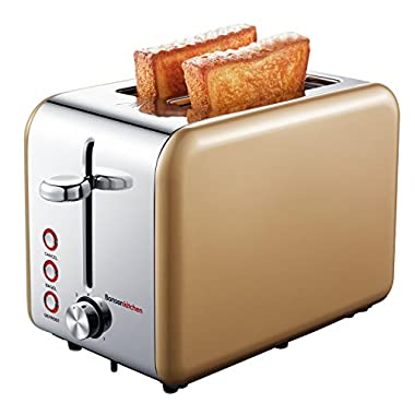 Bonsenkitchen 2-Slice Wide-Slot Toaster with Chrome Stainless Steel Housing, Defrost/Bagel/Cancel and Bread Jam Proof Function, 7 Browning Settings, Gold (TR8741)