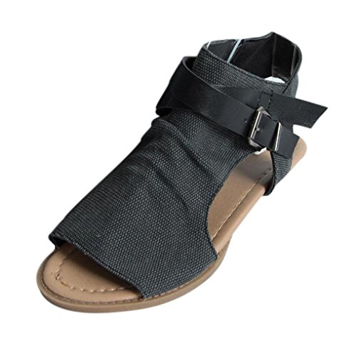OHQ Zapatos para Mujeres Sandalias Planas De Boca De Pescado De Mujer Café Beige Negro Sandalias Planas TalóN La Correa del Tobillo SóLido Sandalias Romanas Cómodo Y Elegante (38, Negro)