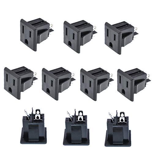 Oiyagai 10Pcs Black US 3 Pins Power Socket Plug Panel Screw Mount Type Female Connectors Adapter