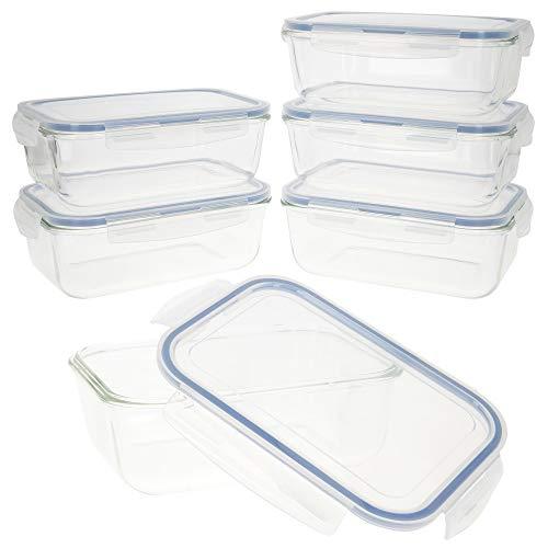 AKTIVE 41 Set 6 contenedores Alimentos herméticos, Vidrio, 23.5 x 17 x 8.5 cm, 1.8 L