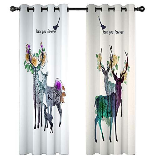 3D verduisteringsgordijnen voor slaapkamer wit geel groen paarse elanden en bloemen Oogje Thermische geïsoleerde kamer verduisterende gordijnen voor woonkamer, 2 venster gordijnpanelen