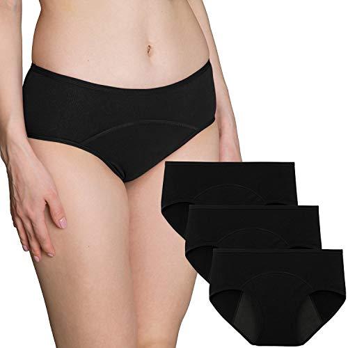 INNERSY Menstruation Perioden Unterwäsche Baumwolle Inkontinenz Slip Schwarz 3er Pack (S, Schwarz-dunkler Schritt)