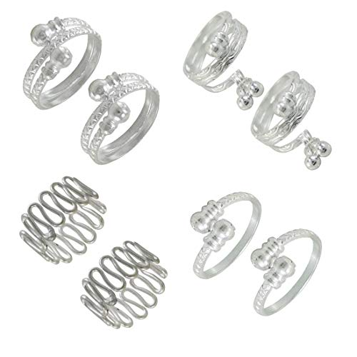 Goldfish Stylish German Silver Adjustable Toe Ring for Women and Girls 4 Pair