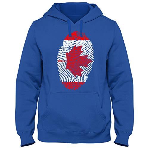 Shirtastic Hoody Hoodie Kapuzenpulli Canada Kanada Ahorn Blatt Eishockey Fußball Fingerabdruck WM, Farbe:blau, Größe:L