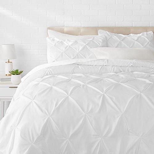 Amazon Basics Pinch Pleat Down-Alternative Comforter Bedding Set - Full / Queen, Bright White
