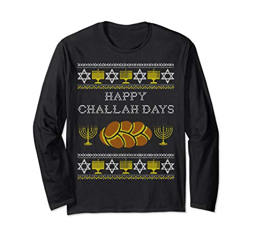 Happy Challah Days Long Sleeve Shirt, Funny Hanukkah Gift Long Sleeve T-Shirt