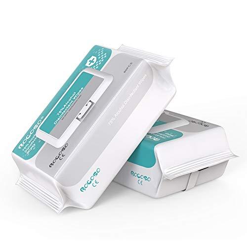 Toallitas húmedas (2 paquetes de 160 piezas), toallitas con alcohol 75% de alcohol, toallitas húmedas grandes de viaje para limpieza multiusos
