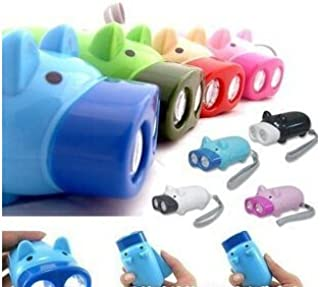 Famixyal Cartoon Animal Hand Crank Electric Torch 2 LED Lovely Pig Keychain Flashlight No Battery Hand Press Recharge Camping Outdoor Light (2 pcs Random Color)