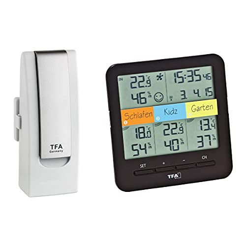 TFA Dostmann Klima WeatherHub Starter Set Klim Radio-igrometro Smart Home con 3 trasmettitori, Nero/Bianco, L 128 x B 32 (58) x H 128 mm