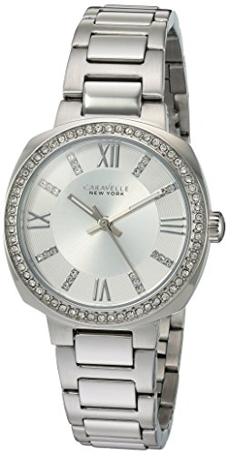 Caravelle New York Women's Quartz Watch with Stainless-Steel Strap, Silver, 9 (Model: 43L195)