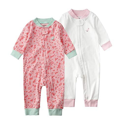 Baby Schlafstrampler Einteiliger Langarm Schlafanzug ohne Fuß 100% Bio-Baumwolle Baby Kleinkinder Schlafoverall Strampelanzug Pyjama 2er Pack Unisex für 0-24 Monate (Rosa&Weiß, 80cm)