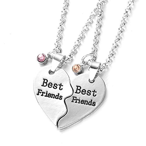 Silver Tone Alloy Rhinestone Best Friends Pendant Friendship Necklaces Set for Childrens Girls (2 part of love)