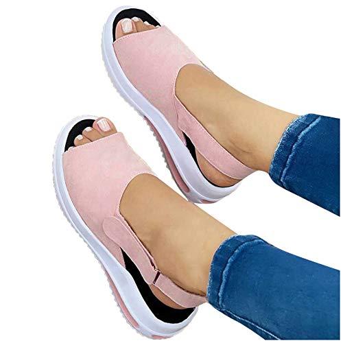 Sandalias de mujer de verano, con cuña y puntera de 5 cm, plataforma de tacón alto, zapatillas deportivas, antideslizantes, de ante, de terciopelo, tallas 36 – 41,5, color Gris, talla 38.5 EU