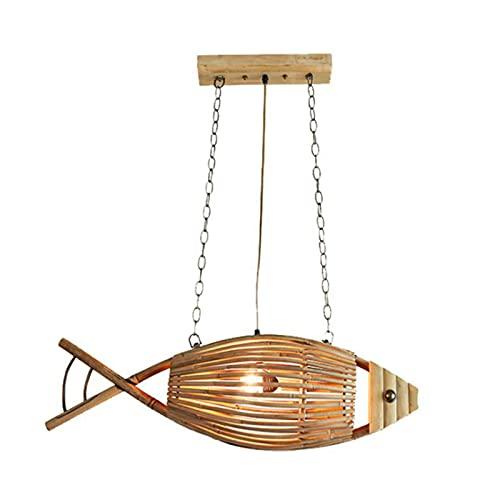 Ylight Moderno Creativo Forma Pez Bambú Tejido Lámpara De Araña,ratán Bambú Arte Lámpara Colgante,Forma Pez Pantalla Lámpara Lámpara Colgante,para Bar,cafetería,Sala Estar,Isla Cocina